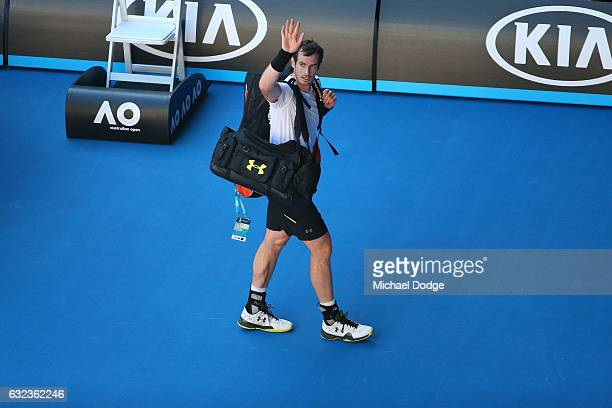 Andy Murray of Great Britain walks off the court after losing his fourth round match against Mischa Zverev of Germany on day seven of the 2017...