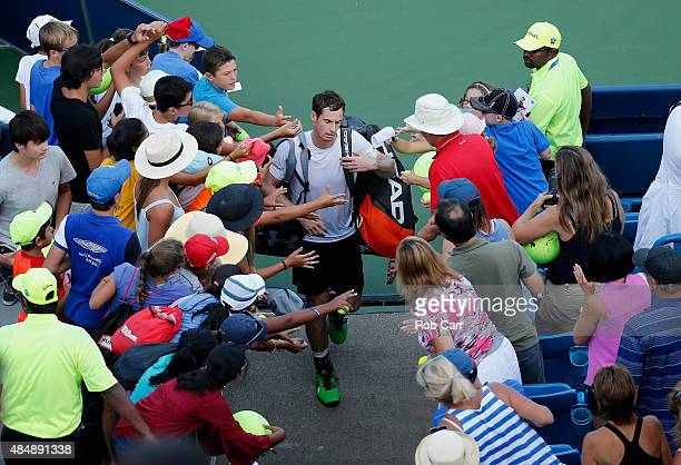 Andy Murray of Great Britain walks off the court after losing to Roger Federer during the semifinals of the Western Southern Open at the Linder...