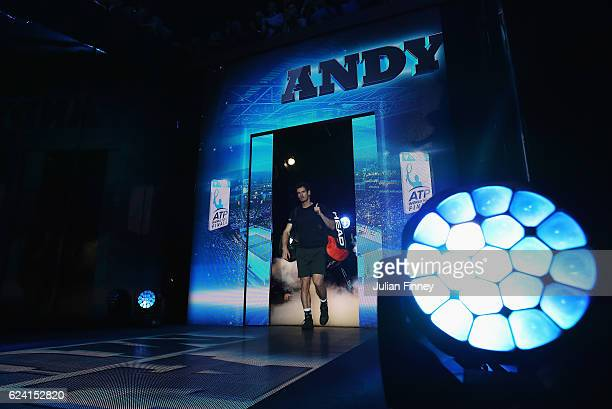 Andy Murray of Great Britain walks out for his men's singles match against Stan Wawrinka of Switzerland on day six of the ATP World Tour Finals at O2...