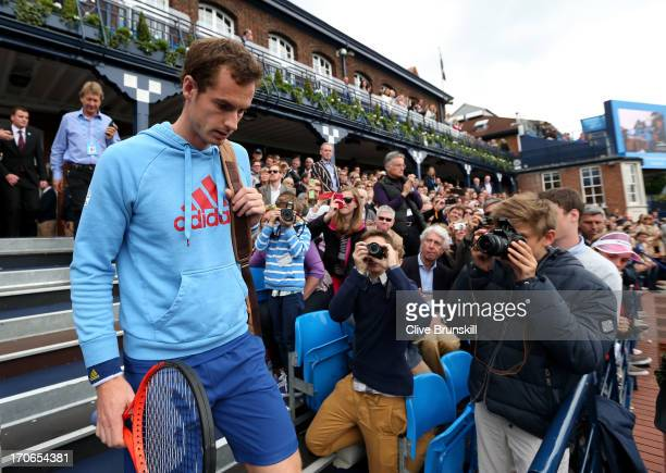 Andy Murray of Great Britain walks out of the clubhouse prior to the Men's Singles final against Marin Cilic of Croatia on day seven of the AEGON...
