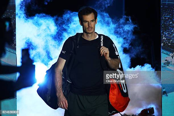 Andy Murray of Great Britain walks out onto court prior to the Singles Final against Novak Djokovic of Serbia at the O2 Arena on November 20 2016 in...