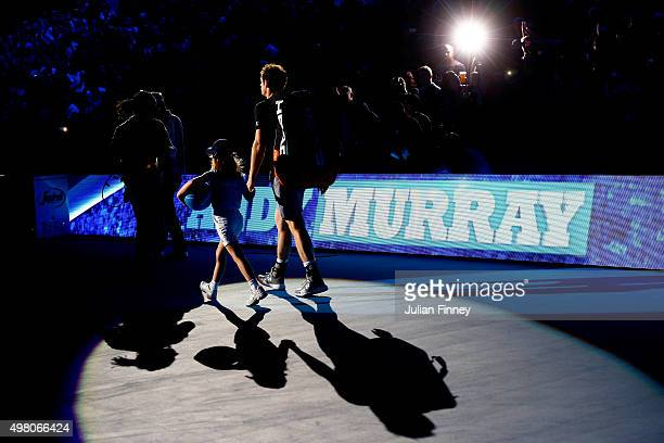 Andy Murray of Great Britain walks out onto court prior to the men's singles match against Stan Wawrinka of Switzerland on day six of the Barclays...