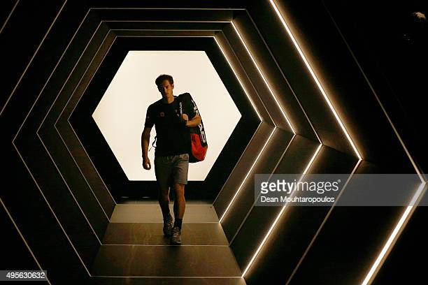 Andy Murray of Great Britain walks out to play his match against Borna Coric of Croatia during Day 3 of the BNP Paribas Masters held at AccorHotels...