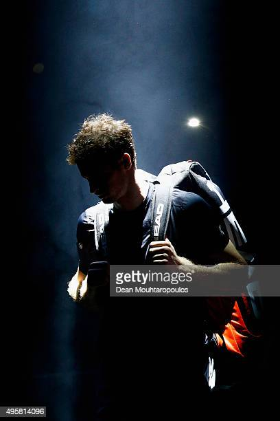 Andy Murray of Great Britain walks out to play in his match against David Goffin of Belgium during Day 4 of the BNP Paribas Masters held at...