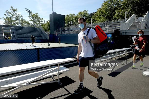 Andy Murray of Great Britain walks to the practice courts in preparation for the Western & Southern Open at the USTA Billie Jean King National Tennis...