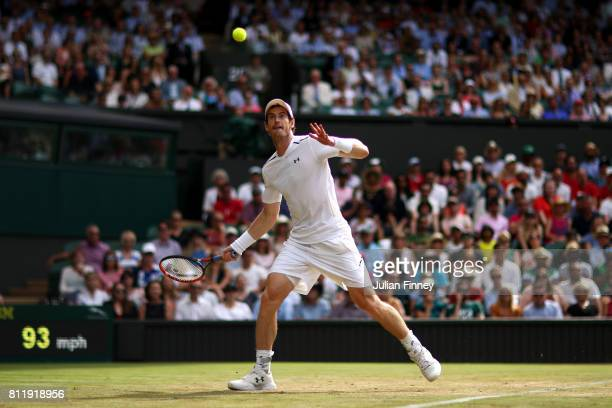 Andy Murray of Great Britain watches the ball during the Gentlemen's Singles fourth round match against Benoit Paire of France on day seven of the...