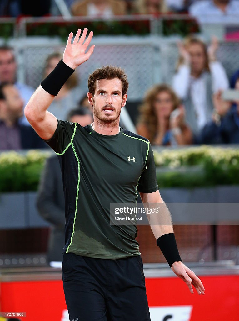 Andy Murray of Great Britain waves to the crowd after his straight sets victory against Kei Nishikori of Japan in their semi final match during day eight of the Mutua Madrid Open tennis tournament at the Caja Magica on May 9, 2015 in Madrid, Spain.