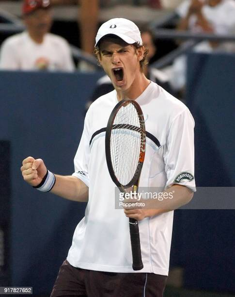 Andy Murray of Great Britain wins a point against Andrei Pavel during their first round match at the US Open at the USTA National Tennis Center in...