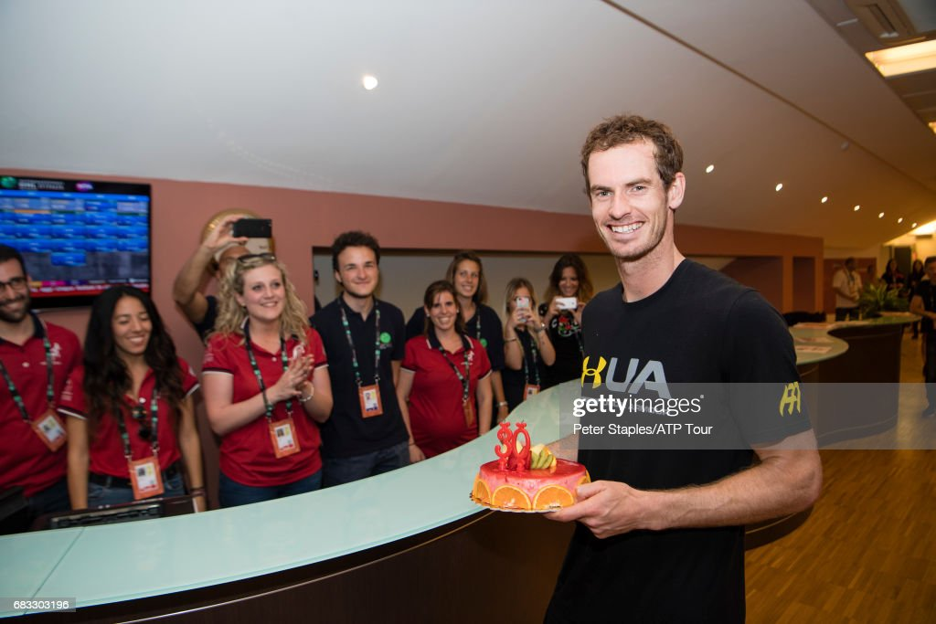 Andy Murray of Great Britain with a surprise birthday cake at The Internazionali BNL d'Italia 2017 on May 15, 2017 in Rome, Italy.