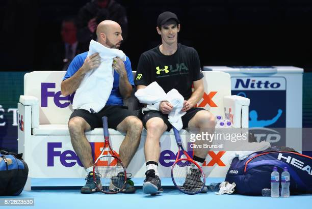 Andy Murray of Great Britain with coach Jamie Delgado during a training session to test his fitness as he comes back from injury prior to the Nitto...