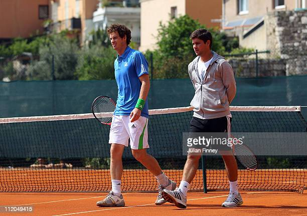 Andy Murray of Great Britain with Daniel Vallverdu in a practice session during Day Three of the ATP Masters Series Tennis at the Monte Carlo Country...
