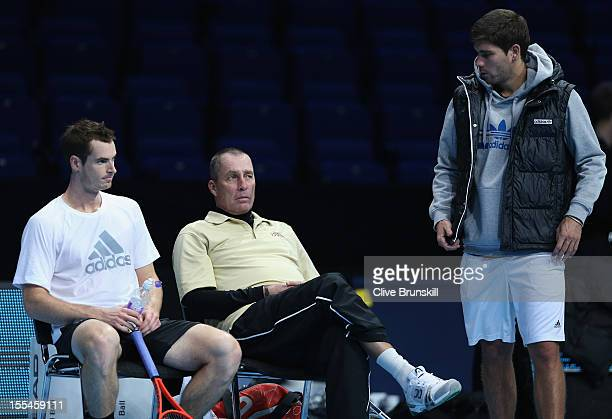 Andy Murray of Great Britain with his coach Ivan Lendl and hitting partner Daniel Vallverdu during a practice session prior to the start of ATP World...