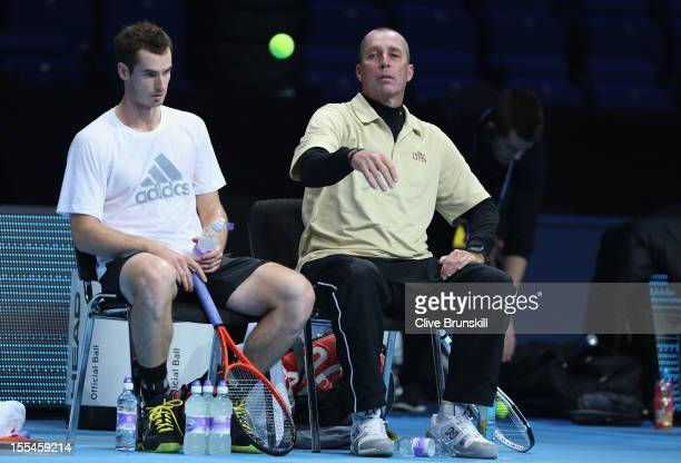 Andy Murray of Great Britain with his coach Ivan Lendl during a practice session prior to the start of ATP World Tour Finals Tennis at the O2 Arena...