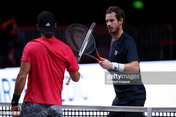Andy Murray of Great Britainr congratilates Fernando Verdasco of Spain after losing the match between Fernando Verdasco of Spain and Andy Murray of...
