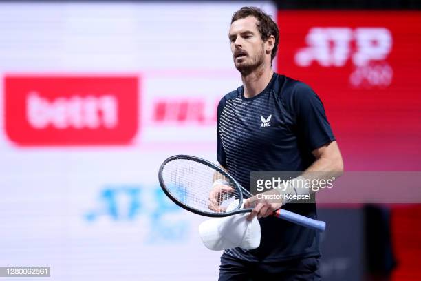 Andy Murray of Great Britainr looks dejected after losing the match between Fernando Verdasco of Spain and Andy Murray of Great Britain two of the...