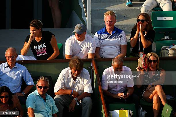 Andy Murray of Great Britain's coach Amelie Mauresmo Matt Little Mark Bender and his wife Kim Murray watch his Men's Semi Final match against Novak...