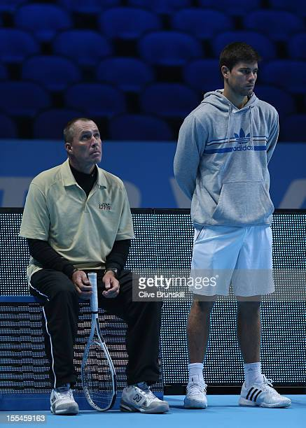 Andy Murray of Great Britain's coach Ivan Lendl and hitting partner Daniel Vallverdu during a practice session prior to the start of ATP World Tour...