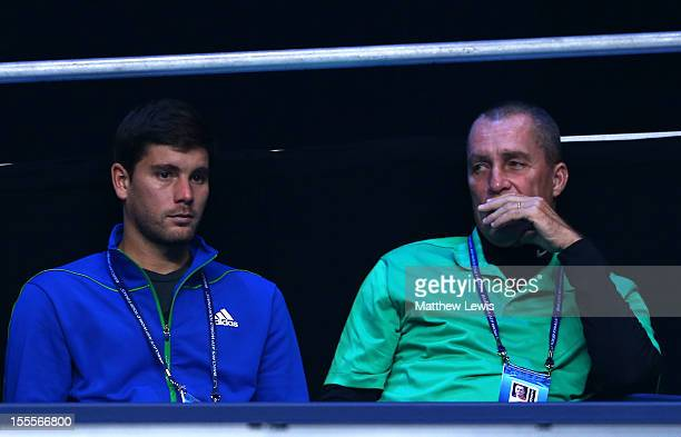 Andy Murray of Great Britain's coaches Ivan Lendl and Daniel Vallverdu watch his men's singles match against Tomas Berdych of Czech Republic on day...