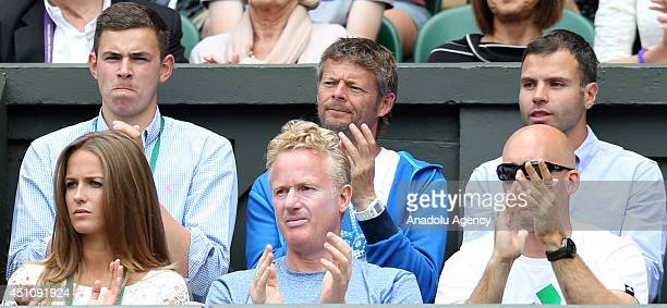 Andy Murray of Great Britain's girlfriend Kim Sears watches the match for Gentlemen's Singles first round between Andy Murray and David Goffin of...