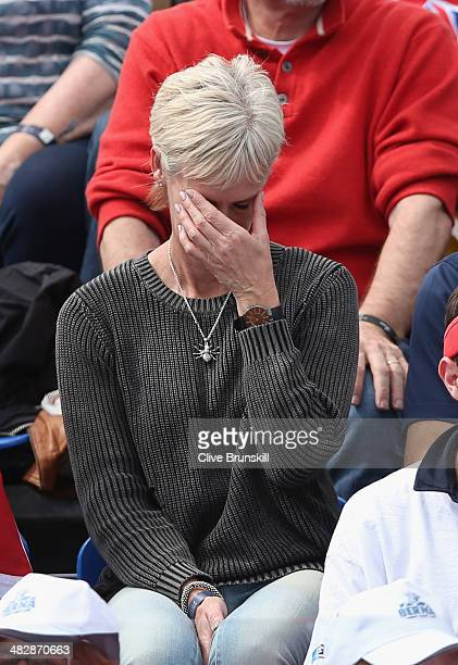 Andy Murray of Great Britain's mother Judy Murray cant bare to watch her son as he plays in the second rubber against Andreas Seppi of Italy during...