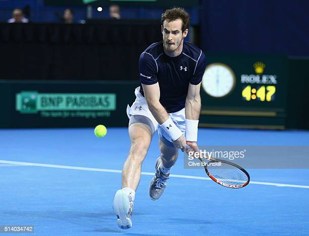 Andy Murray of Great Britains plays aback hand during the singles match against Kei Nishikori of Japan on day three of the Davis Cup World Group...