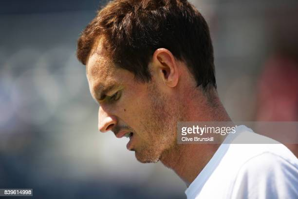 Andy Murray of Great Britian during a practice session prior to the US Open Tennis Championships at USTA Billie Jean King National Tennis Center on...