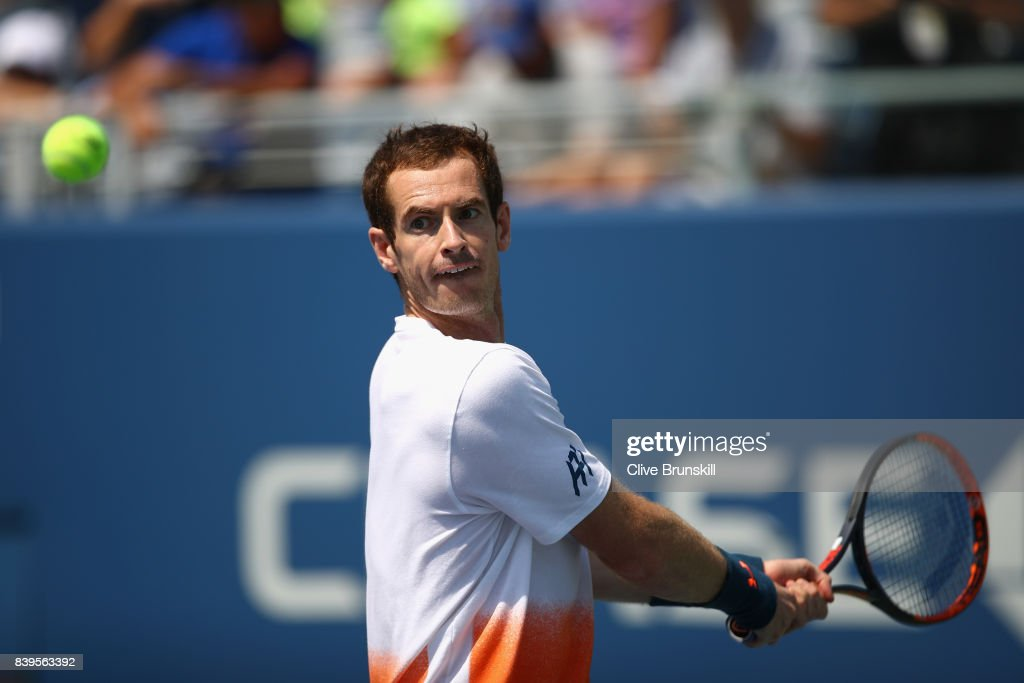Andy Murray of Great Britian in action during a practice session prior to the US Open Tennis Championships at USTA Billie Jean King National Tennis Center on August 26, 2017 in New York City.