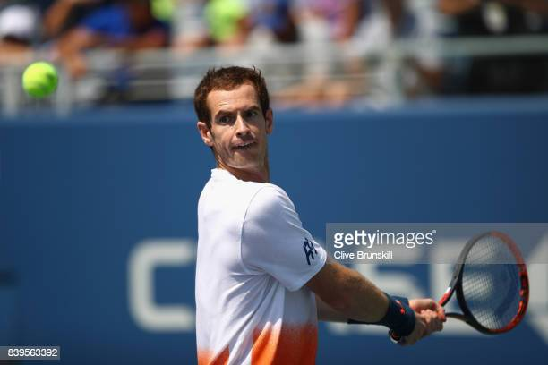 Andy Murray of Great Britian in action during a practice session prior to the US Open Tennis Championships at USTA Billie Jean King National Tennis...