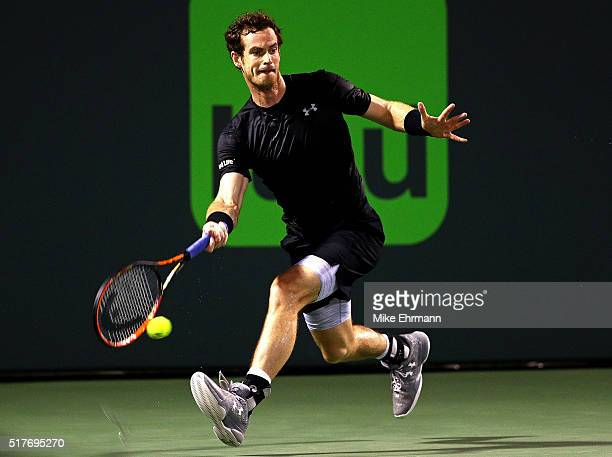 Andy Murray of Great Brittain plays a match against Denis Istomin of Uzbekistan during Day 6 of the Miami Open presented by Itau at Crandon Park...