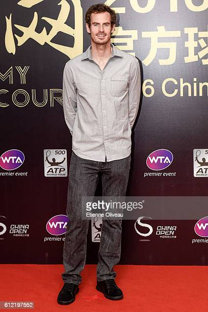 Andy Murray of Scotland arrives at the 2016 China Open Player Party at The Birds Nest on October 3 2016 in Beijing China