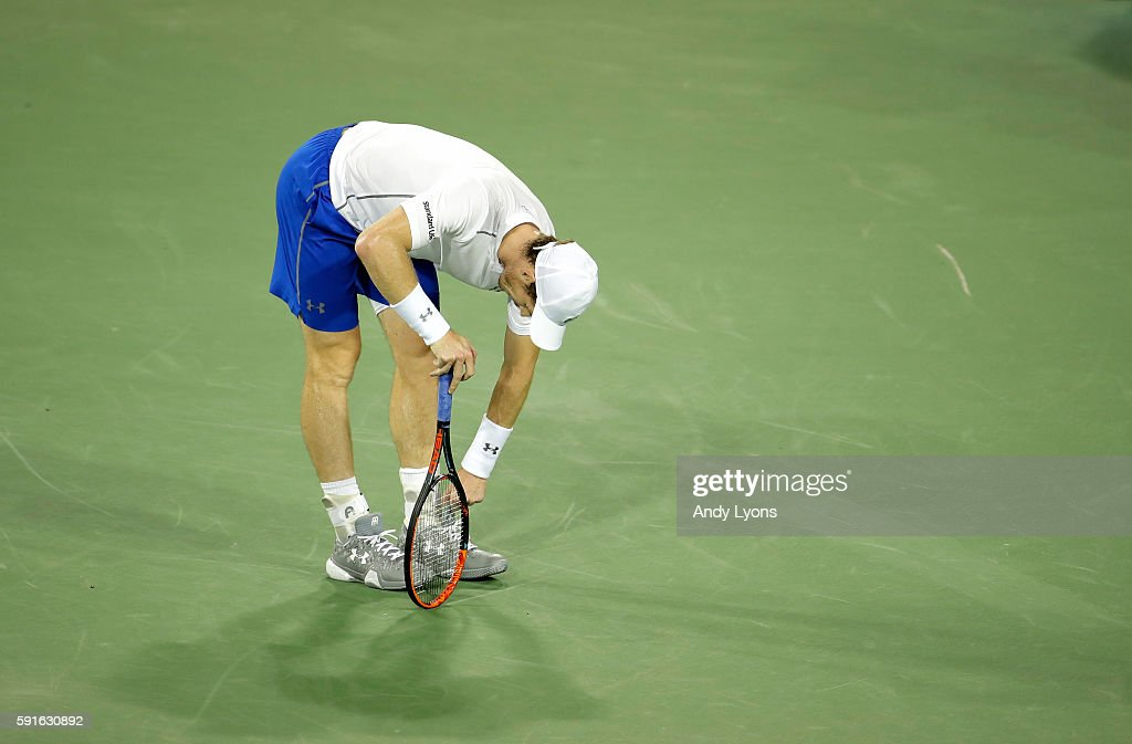 Andy Murray of Scotland bends over after a long point in his second round match against Juan Monaco during day 5 of the Western & Southern Open at the Lindner Family Tennis Center on August 17, 2016 in Mason, Ohio.