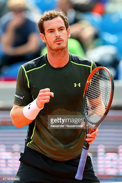 Andy Murray of Scotland celebrates during his first round match against Mischa Zverev of Germany of the BMW Open at Iphitos tennis club on April 30,...