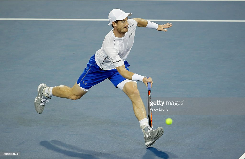 Andy Murray of Scotland hits a return in his second round match against Juan Monaco during day 5 of the Western & Southern Open at the Lindner Family Tennis Center on August 17, 2016 in Mason, Ohio.