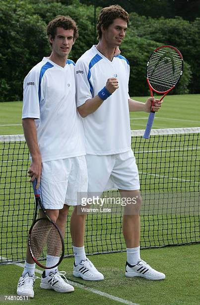 Andy Murray of Scotland meets his own Madame Tussauds wax figure at The Boodles Challenge tennis tournament at The Stoke Park Club on June 20 2007 in...