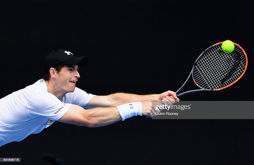 Andy Murray of Scotland plays a backhand during a practice session ahead of the 2017 Australian Open at Melbourne Park on January 14, 2017 in Melbourne, Australia.
