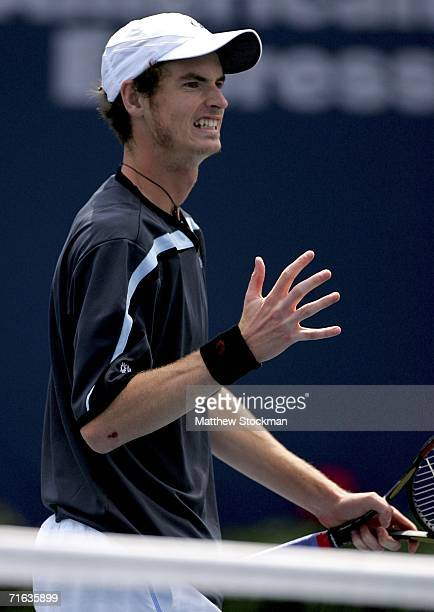 Andy Murray of Scotland reacts to a lost point against Richard Gasquet of France during the Toronto Masters Series Rogers Cup August 12 2006 at the...