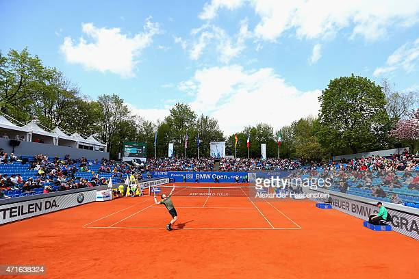 Andy Murray of Scotland serves against Mischa Zverev of Germany during the fiirst round match of the BMW Open at Iphitos tennis club on April 30 2015...