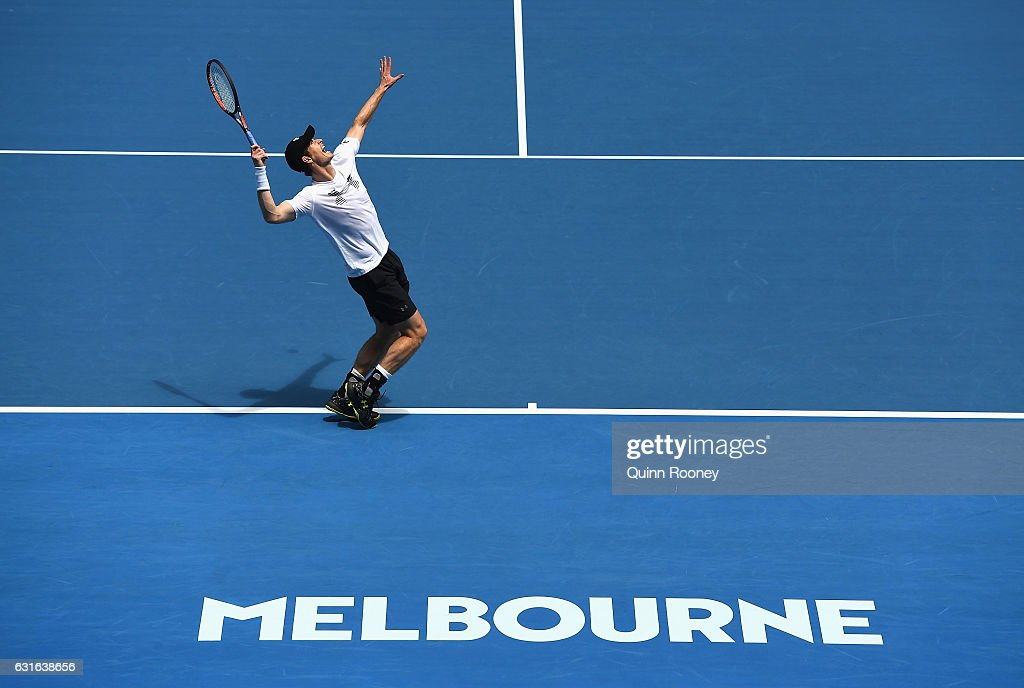 Andy Murray of Scotland serves during a practice session ahead of the 2017 Australian Open at Melbourne Park on January 14, 2017 in Melbourne, Australia.