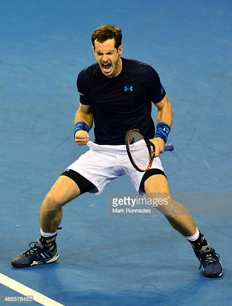 Andy Murray of the Aegon GB Davis Cup Team reacts after wining the first set against John Isner of the United States during Day 3 of the Davis Cup...