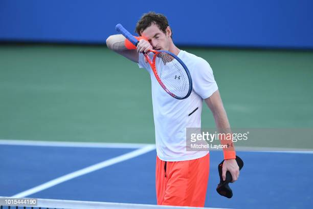 Andy Murray of the Great Britain walks back to bench during a match against Kyle Edmund of Great Britain during Day Five of the Citi Open at the Rock...