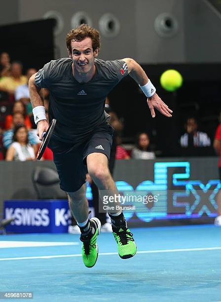 Andy Murray of the Manila Mavericks runs for the ball against Marin Cilic of the UAE Royals during the Coca-Cola International Premier Tennis League...