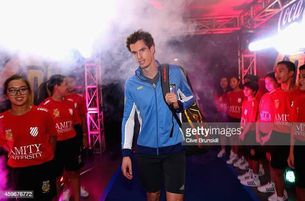 Andy Murray of the Manila Mavericks walks out at the start of his teams series of matches at the Coca-Cola International Premier Tennis League at the...