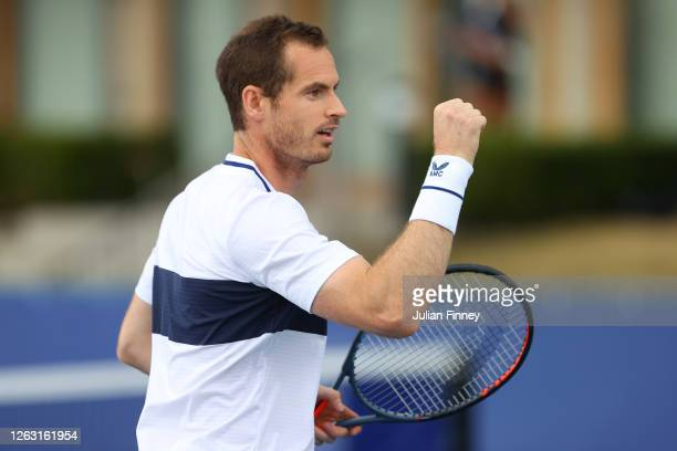 Andy Murray of Union Jacks celebrates a point during his men's doubles match with doubles partner Lloyd Glasspool against Joe Salisbury and Kyle...
