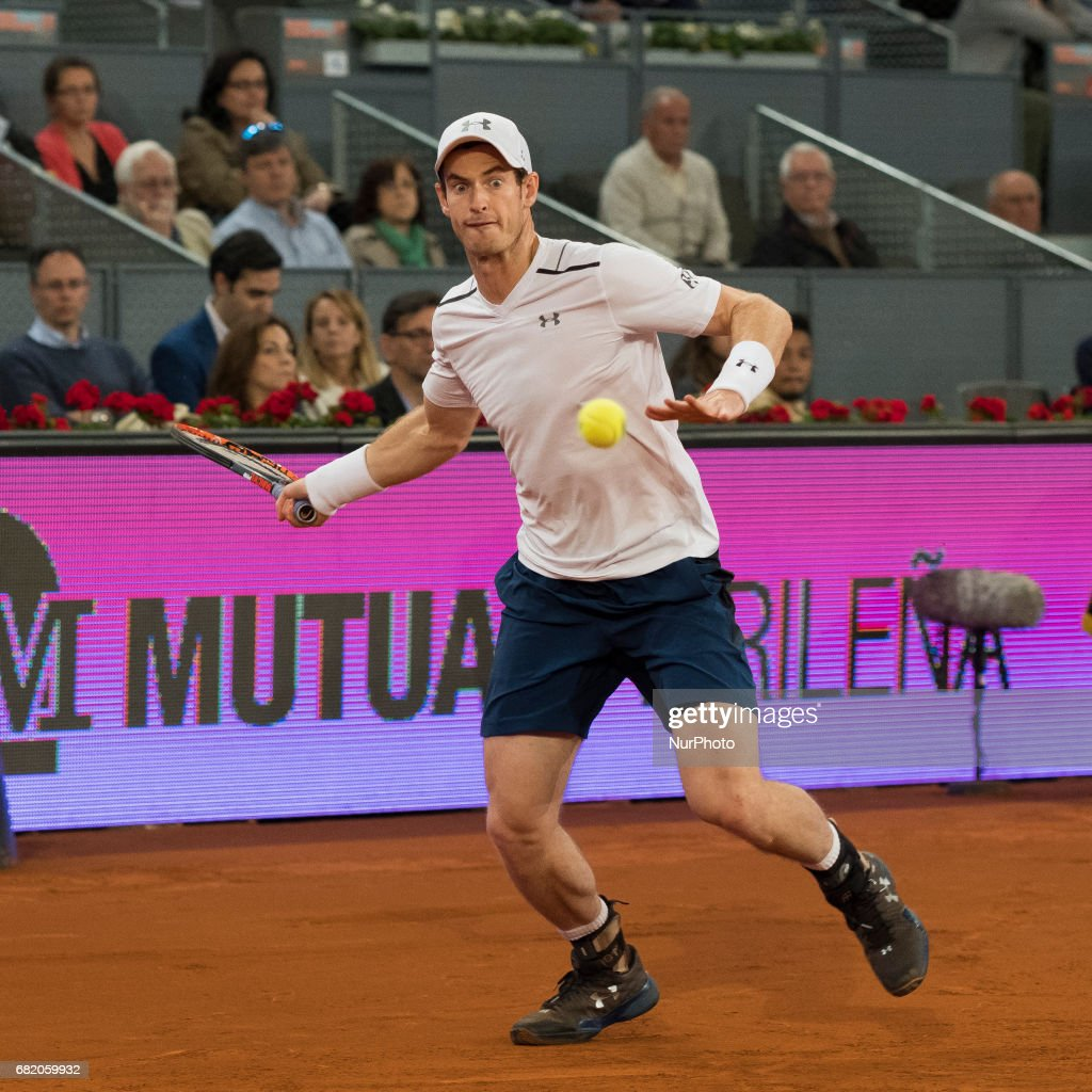 Andy Murray of United Kingdom against Borna Coric of Croatia during day six of the Mutua Madrid Open tennis at La Caja Magica on May 11, 2017 in Madrid, Spain