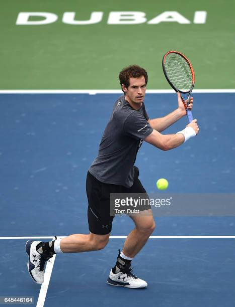 Andy Murray of United Kingdom practices prior to the ATP Dubai Duty Free Tennis Championship on February 26 2017 in Dubai United Arab Emirates