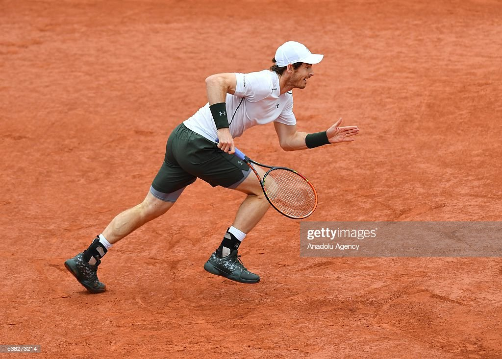 Andy Murray of United Kingdom returns to Novak Djokovic of Serbia during the men's single final match at the French Open tennis tournament at Roland Garros Stadium in Paris, France on June 05, 2016.