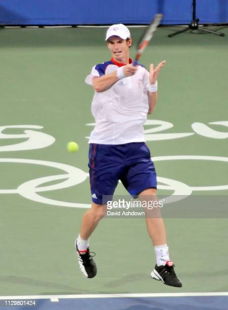 Andy Murray on his way to being defeated by Lu Yen-Hsun in the 1st round of the Mens Tennis tournament at the Summer Olympic Games in Beijing China...