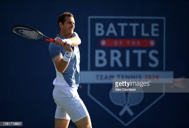 Andy Murray parter of Jodie Burrage of Union Jacks plays a backhand in their mixed doubles match against Joe Salisbury and Emma Raducanu of British...