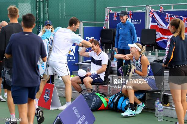Andy Murray partner of Naomi Broady of Union Jacks celebrates with Jamie Murray in their mixed doubles match against Emma Raducanu and Kyle Edmund of...