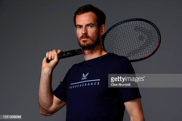 Andy Murray poses for a photo prior to Schroders Battle of the Brits at the National Tennis Centre on June 22 2020 in London England